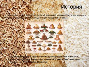История В Европе рис долгое время был дорогой привозной экзотикой, из зерен к
