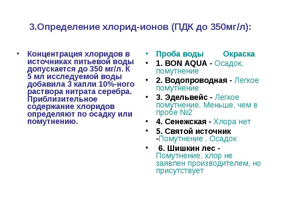 3.Определение хлорид-ионов (ПДК до 350мг/л): Концентрация хлоридов в источник...