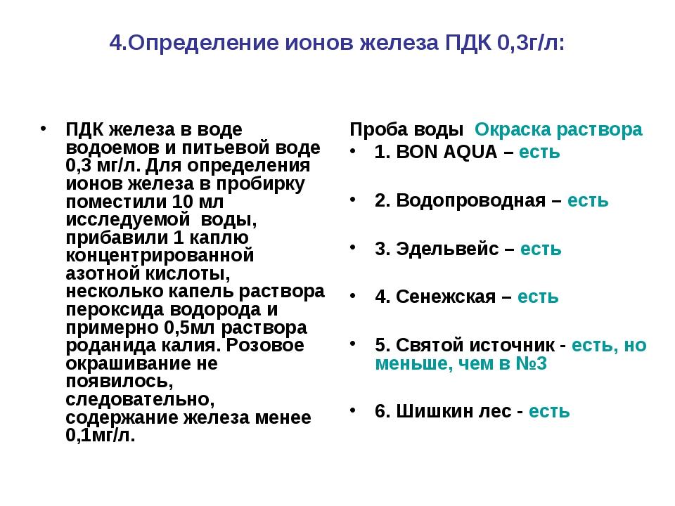 4.Определение ионов железа ПДК 0,3г/л: ПДК железа в воде водоемов и питьевой...