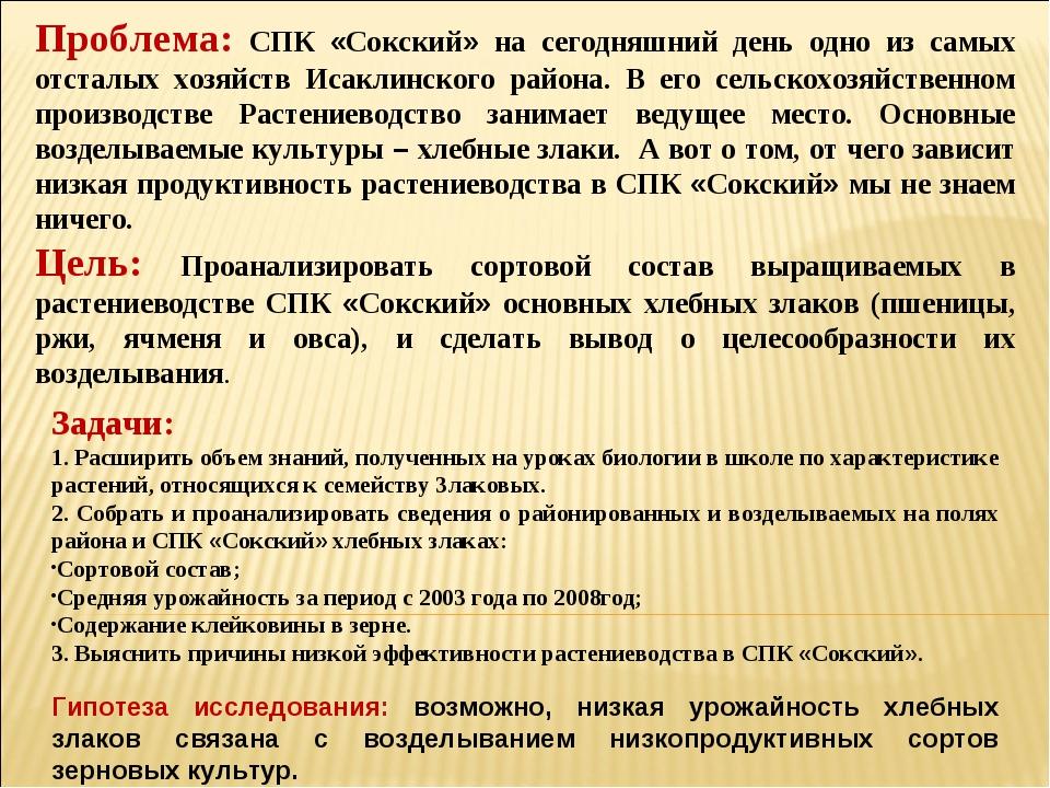 Проблема: СПК «Сокский» на сегодняшний день одно из самых отсталых хозяйств И...