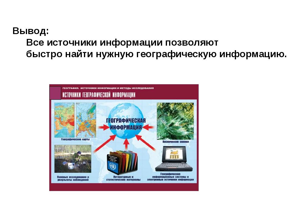 Вывод: Все источники информации позволяют быстро найти нужную географическую...