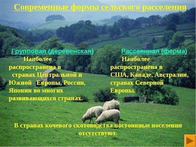 Современные формы сельского расселения Групповая (деревенская) Наиболее распр...