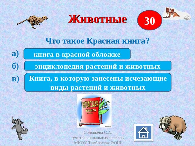 Животные Что такое Красная книга? а) б) в) 30 книга в красной обложке энцикло...