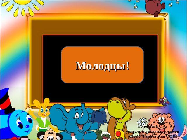 Молодцы! Соловьёва С.А. учитель начальных классов МКОУ Тамбовская ООШ Соловьё...