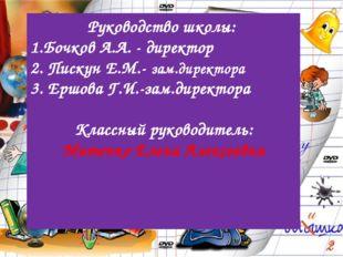 Руководство школы: 1.Бочков А.А. - директор 2. Пискун Е.М.- зам.директора 3.