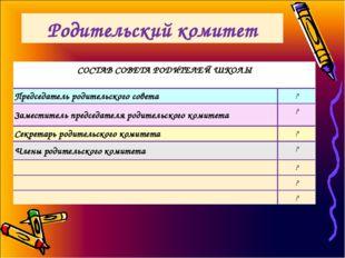 Родительский комитет СОСТАВ СОВЕТА РОДИТЕЛЕЙ ШКОЛЫ  Председатель родительско