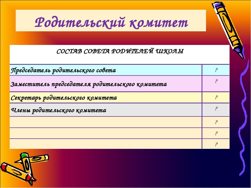 Родительский комитет СОСТАВ СОВЕТА РОДИТЕЛЕЙ ШКОЛЫ  Председатель родительско...