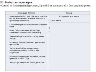 ІІІ. Бекіту тапсырмалары: Сан және әріптерді пайдаланып, әр табиғат зонасына
