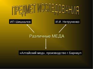 Различные МЕДА ИП Шишкалов И.И. Нетруненко «Алтайский мед», производство г.Ба