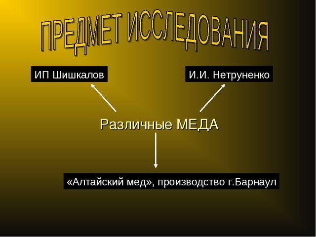 Различные МЕДА ИП Шишкалов И.И. Нетруненко «Алтайский мед», производство г.Ба...