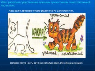 Назовите признаки кошки (какая она?). Запишите их. Вопрос: Какую часть речи м