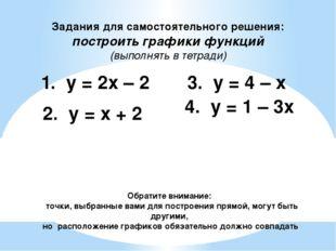 Задания для самостоятельного решения: построить графики функций (выполнять в