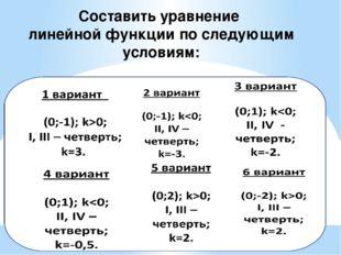 Составить уравнение линейной функции по следующим условиям: