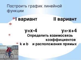 I вариант II вариант y=x-4 y=-x+4 Определить взаимосвязь коэффициентов k и b