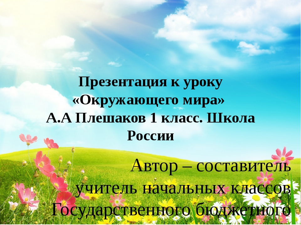 Презентация к уроку «Окружающего мира» А.А Плешаков 1 класс. Школа России Авт...