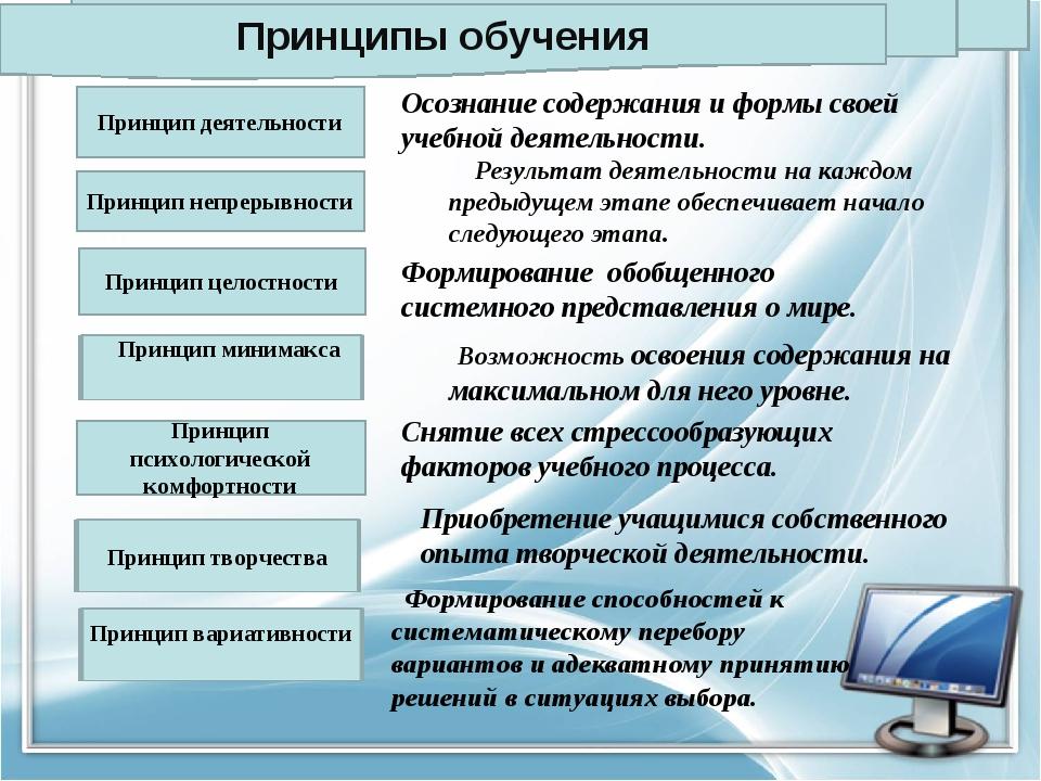 Принцип деятельности Принцип целостности Принцип психологической комфортности...