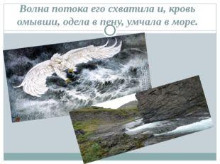 Волна потока его схватила и, кровь омывши, одела в пену, умчала в море.
