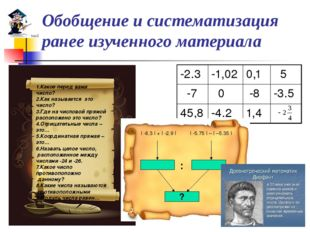 Обобщение и систематизация ранее изученного материала 1.Какое перед вами числ