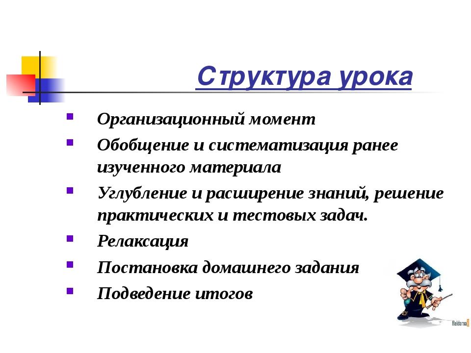 Структура урока Организационный момент Обобщение и систематизация ранее изуч...