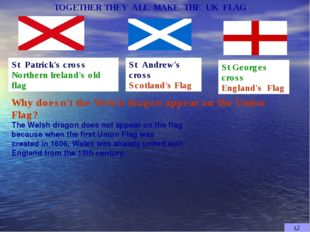 St Georges cross England's Flag St Andrew's cross Scotland's Flag St Patrick'