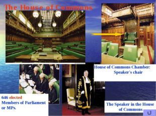 House of Commons Chamber: Speaker's chair The House of Commons 646 elected Me