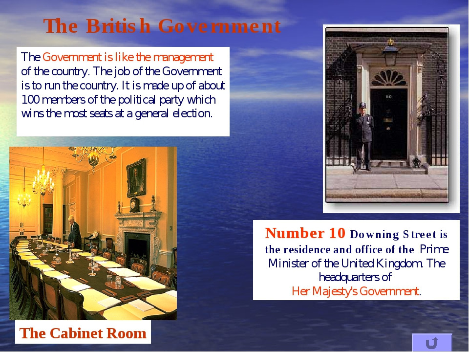 The British Government The Government is like the management of the country....