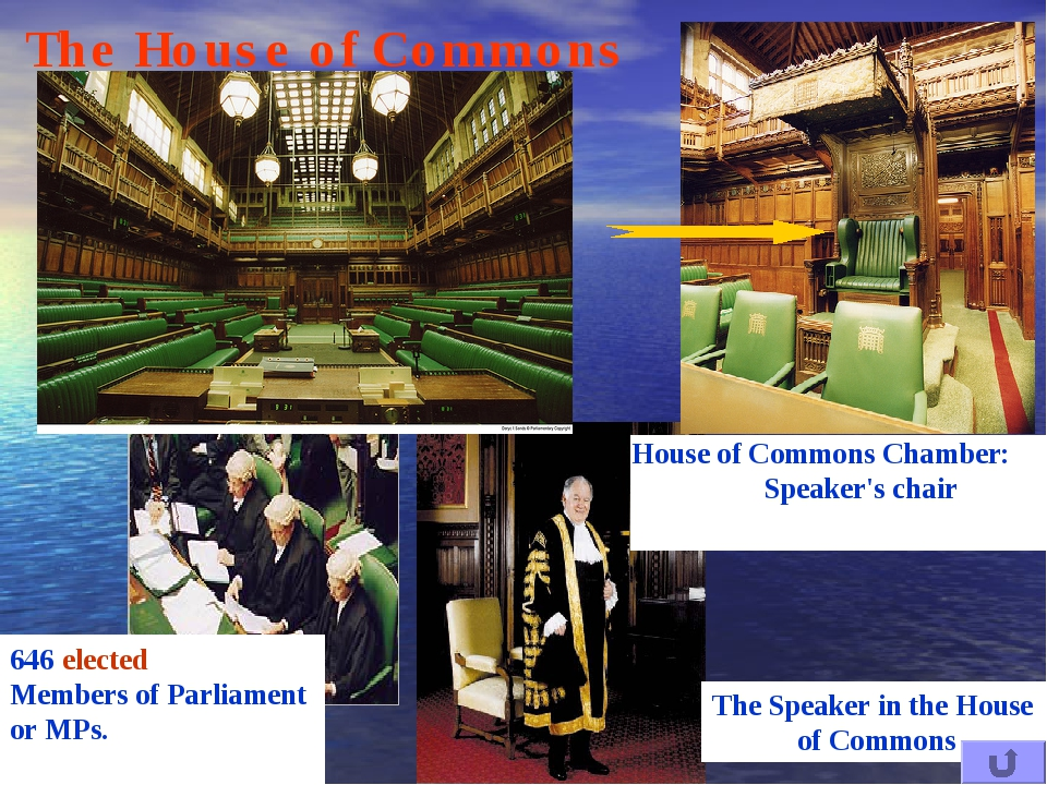 House of Commons Chamber: Speaker's chair The House of Commons 646 elected Me...