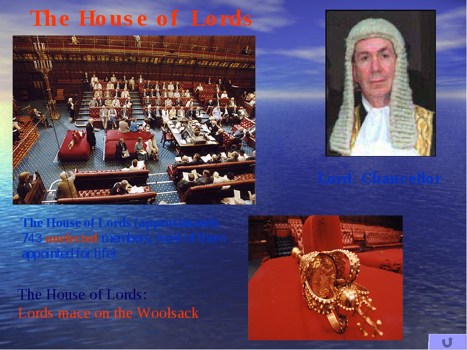 The House of Lords: Lords mace on the Woolsack The House of Lords The House o...