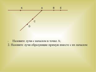 Назовите лучи с началом в точке А; 2. Назовите лучи образующие прямую вместе