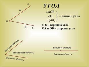УГОЛ т. О – вершина угла ОА и ОВ – стороны угла a Внешняя область Внутренняя