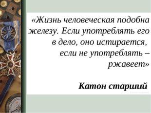 «Жизнь человеческая подобна железу. Если употреблять его в дело, оно истирает