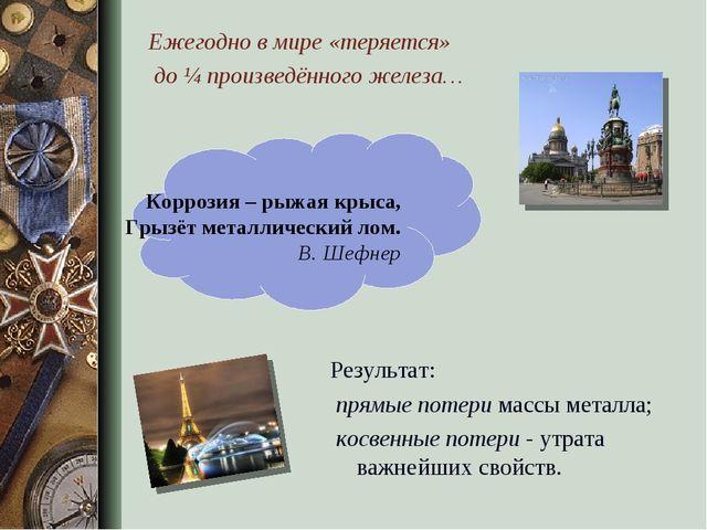Результат: прямые потери массы металла; косвенные потери - утрата важнейших...