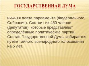 нижняя плата парламента (Федерального Собрания). Состоит из 450 членов (депут