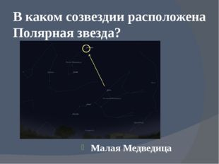 В каком созвездии расположена Полярная звезда? Малая Медведица