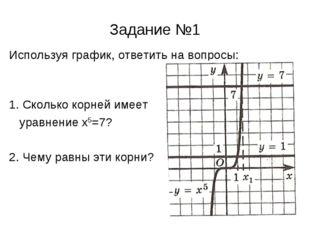 Задание №1 Используя график, ответить на вопросы: 1. Сколько корней имеет ура