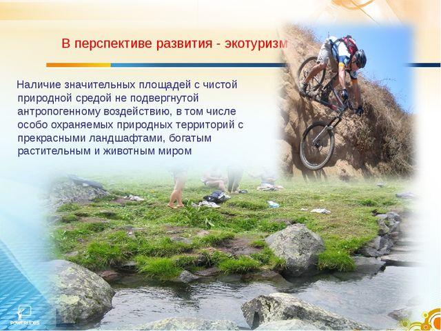 В перспективе развития - экотуризм Наличие значительных площадей с чистой пр...