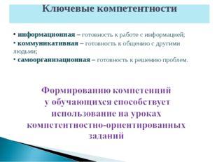 информационная – готовность к работе с информацией; коммуникативная – готовн