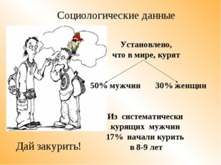 Установлено, что в мире, курят 50% мужчин 30% женщин Из систематически курящ