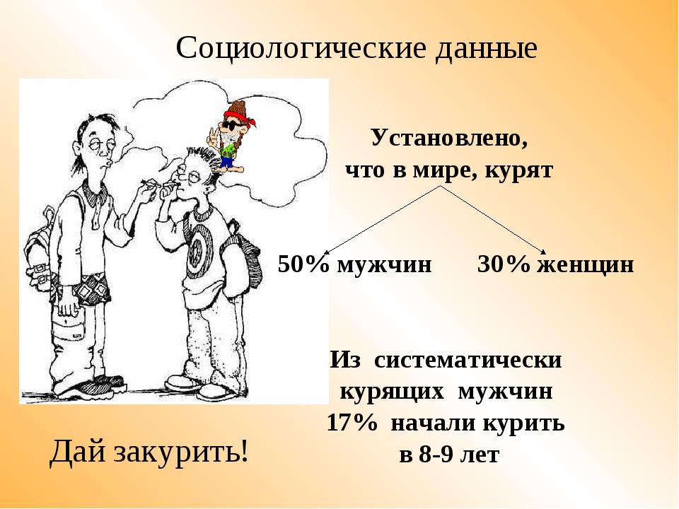 Установлено, что в мире, курят 50% мужчин 30% женщин Из систематически курящ...
