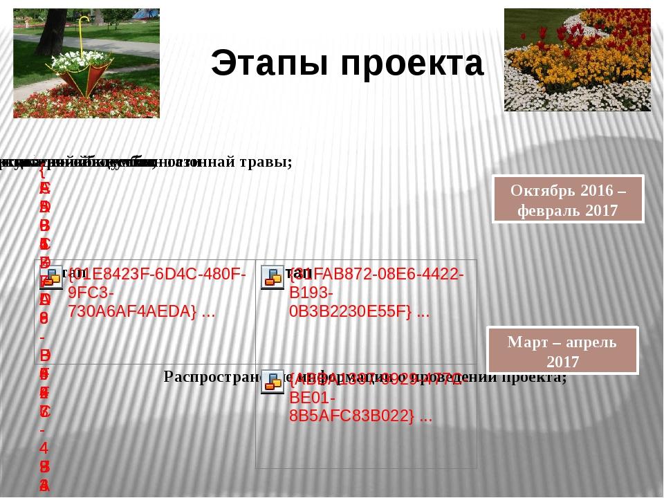 Этапы проекта Октябрь 2016 – февраль 2017 Март – апрель 2017