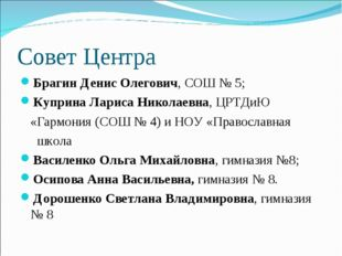 Совет Центра Брагин Денис Олегович, СОШ № 5; Куприна Лариса Николаевна, ЦРТДи