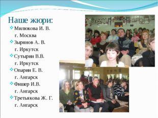 Наше жюри: Милюкова И. В. г. Москва Зырянов А. В. г. Иркутск Сутырин В.В. г.