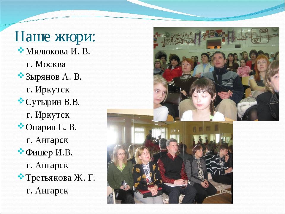 Наше жюри: Милюкова И. В. г. Москва Зырянов А. В. г. Иркутск Сутырин В.В. г....