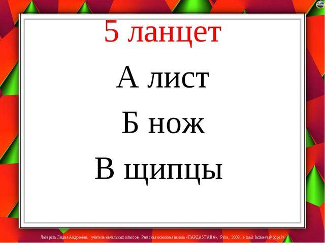 5 ланцет А лист Б нож В щипцы Лазарева Лидия Андреевна, учитель начальных кла...
