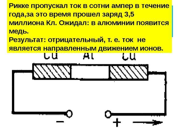 Опыт Карла Рикке (1901 ) Рикке пропускал ток в сотни ампер в течение года,за...