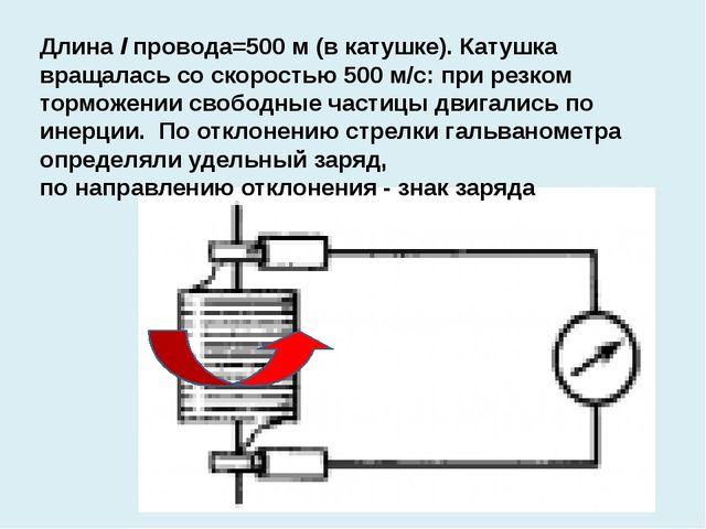 Длина l провода=500 м (в катушке). Катушка вращалась со скоростью 500 м/с: п...