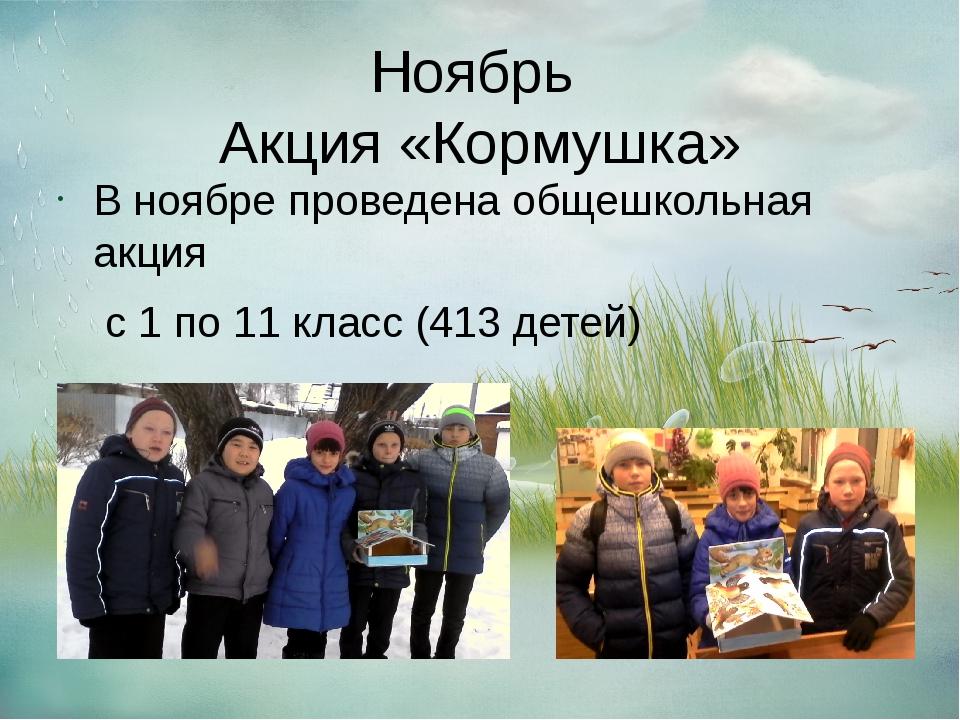 Ноябрь Акция «Кормушка» В ноябре проведена общешкольная акция с 1 по 11 класс...