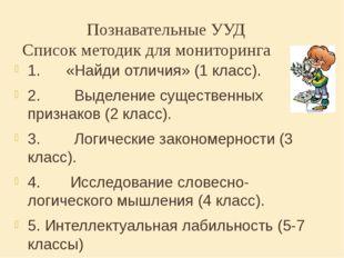 Познавательные УУД Список методик длямониторинга 1.«Найди отличия» (1