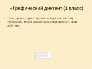 «Графический диктант (1 класс) Цель: уровень ориентировки на заданную систему