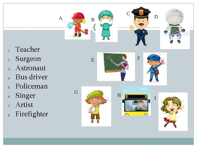 A B C D E F G H I Teacher Surgeon Astronaut Bus driver Policeman Singer Arti...